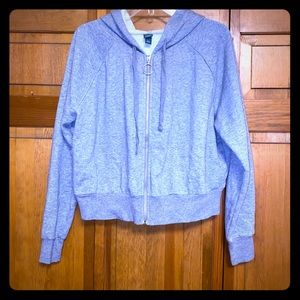 Grey crop zip up hoodie